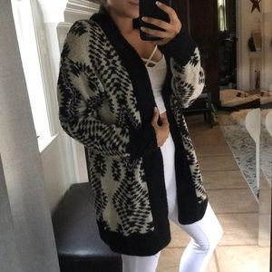 Fuzzy Black and White Cardigan Sweater